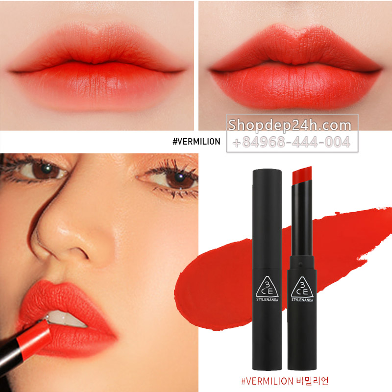 [3CE] Son thỏi 3ce Slim Velvet Lip color #Vermilion